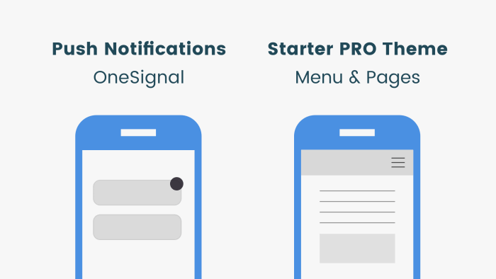 push notifications and starter pro theme features