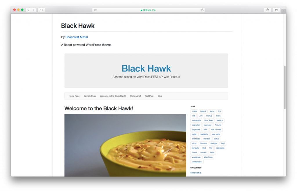 WordPress themes built with React - Blackhawk react wordpress theme