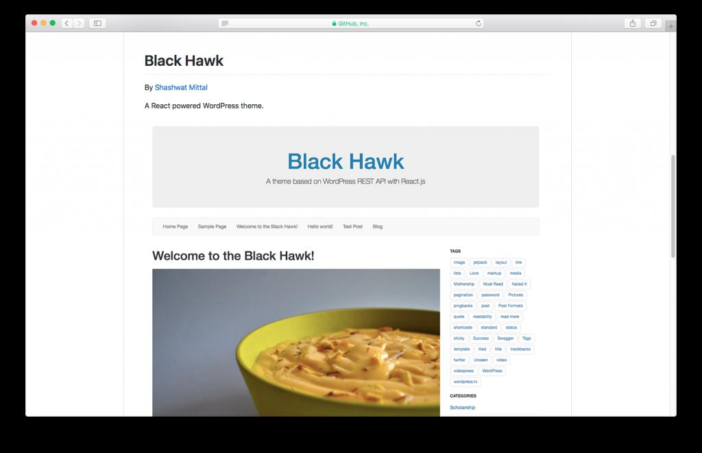 WordPress themes built with React - Blackhawk react wordpress theme