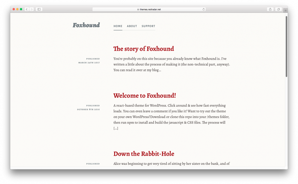 WordPress themes built with React - Foxhound react wordpress theme