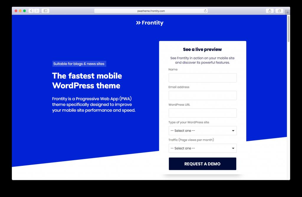 Frontity - Progressive Web App theme