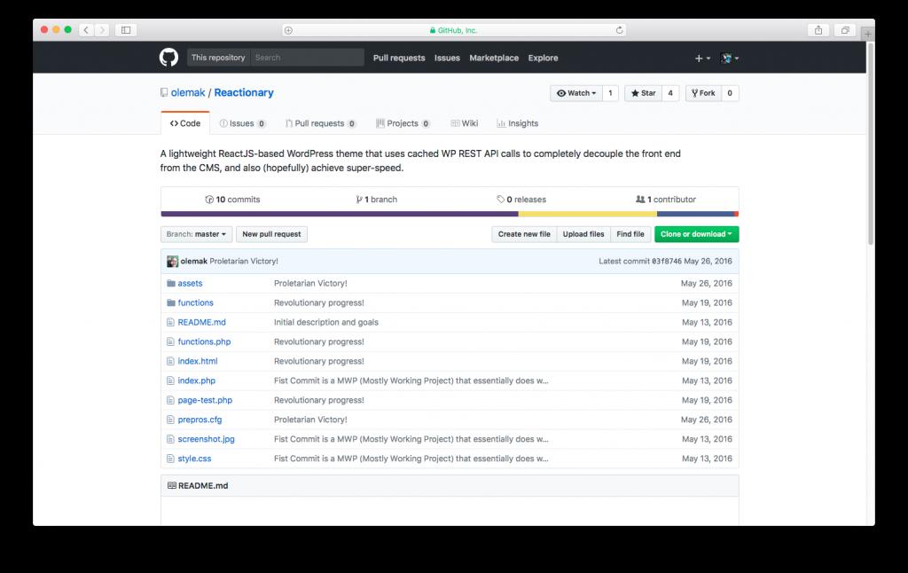 WordPress themes built with React - reactionary react wordpress theme
