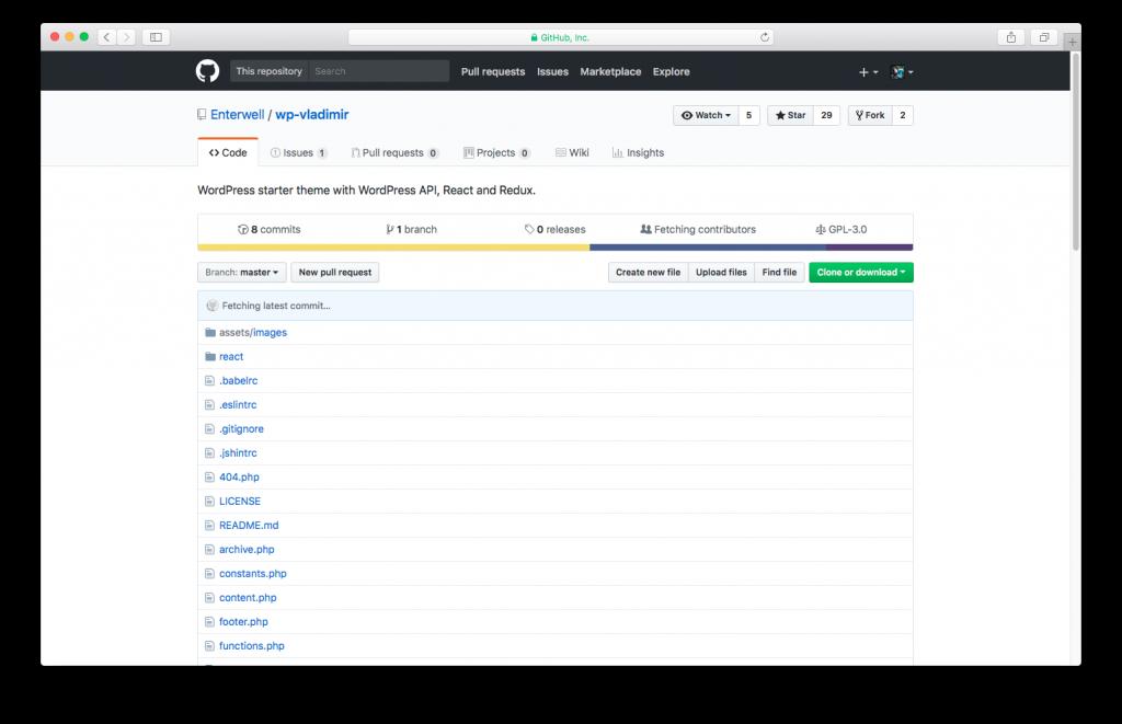 WordPress themes built with React - wp-vladimir React WordPress theme