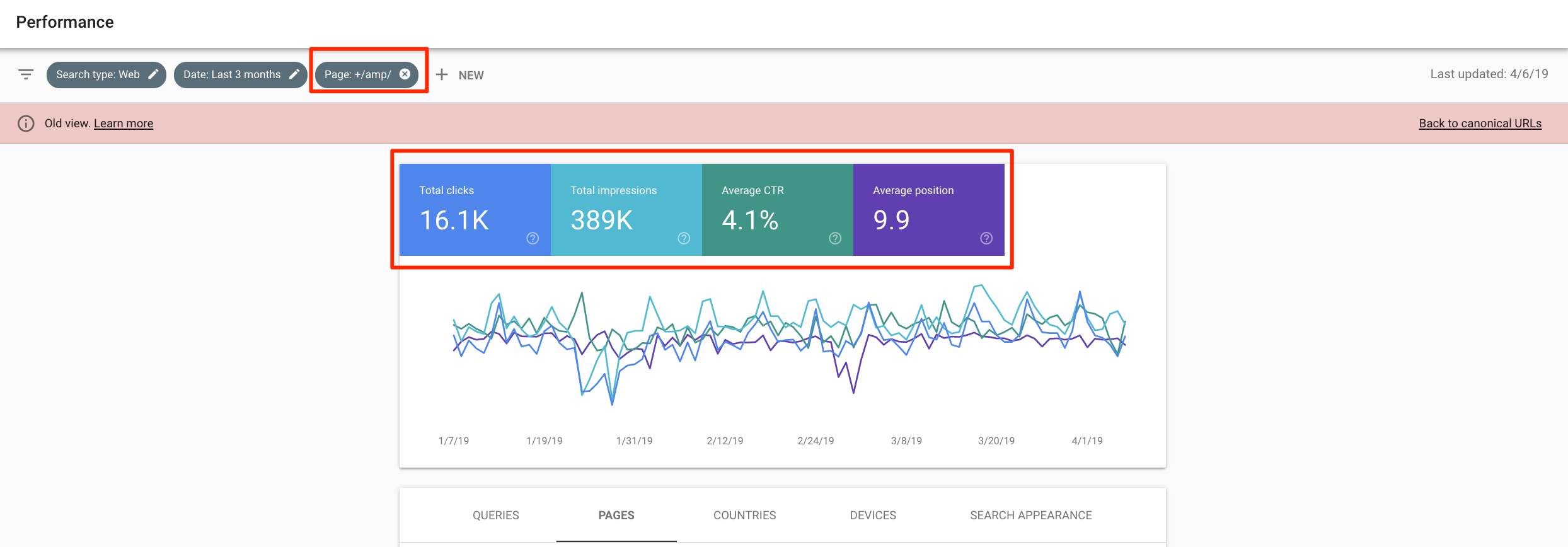 Search Console Old View