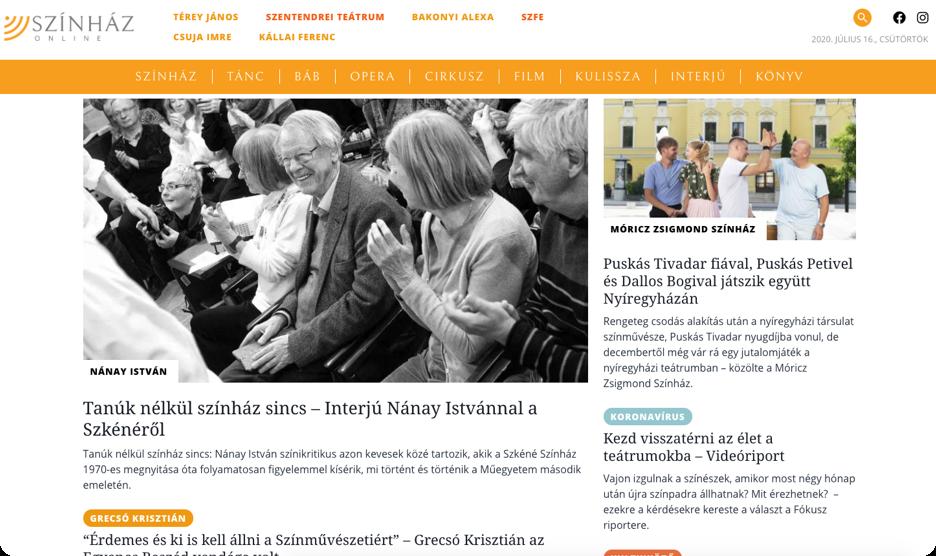 Screenshot of Szinhaz Online website