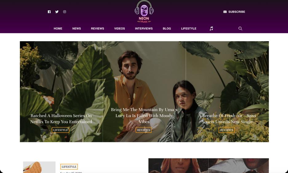 Screenshot of NeonMusic website