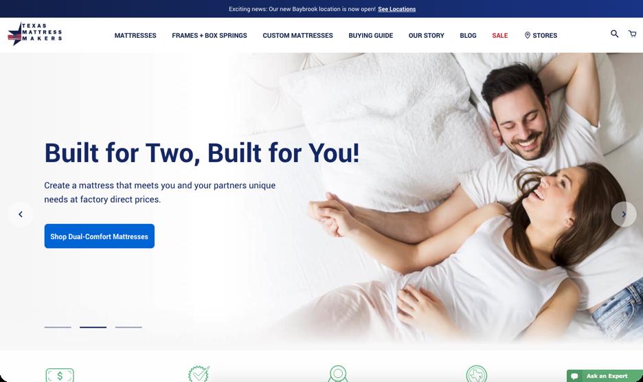 Screenshot of Texas Mattress Makers website
